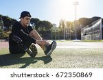 disabled man athlete ready for... | Shutterstock . vector #672350869