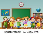 many children standing in the... | Shutterstock . vector #672352495