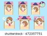 cute cartoon woman with... | Shutterstock .eps vector #672357751