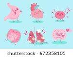 cute cartoon organ with helath...   Shutterstock .eps vector #672358105