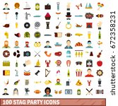 100 stag party icons set in... | Shutterstock .eps vector #672358231
