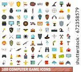 100 computer game icons set in... | Shutterstock .eps vector #672358579