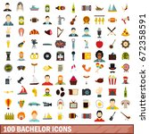 100 bachelor icons set in flat... | Shutterstock .eps vector #672358591