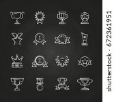 trophy prizes  awards icons... | Shutterstock .eps vector #672361951