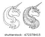 unicorns isolated. magical... | Shutterstock .eps vector #672378415