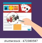 hand holding a magnifying glass ... | Shutterstock .eps vector #672380587