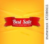 red  paper banner for best sale.... | Shutterstock .eps vector #672380611