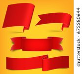 set of red  realistic  paper...   Shutterstock .eps vector #672380644