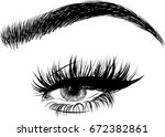 woman eye and perfect eyebrows... | Shutterstock .eps vector #672382861