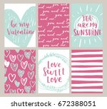 set of valentines day greeting ... | Shutterstock . vector #672388051