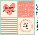 set of greeting cards for... | Shutterstock . vector #672388069