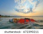 lifeguard dog training practice ... | Shutterstock . vector #672390211