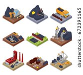 isometric coal industry with... | Shutterstock .eps vector #672391165