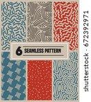 six set seamless pattern nature ...   Shutterstock .eps vector #672392971