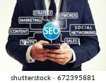 seo marketing concept with... | Shutterstock . vector #672395881