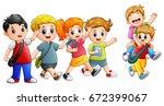 vector illustration of happy... | Shutterstock .eps vector #672399067