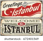 greetings from istanbul.... | Shutterstock .eps vector #672401569
