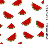 seamless pattern with watermelon | Shutterstock .eps vector #672405571