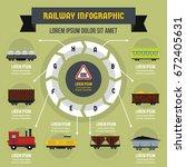 railway infographic banner... | Shutterstock .eps vector #672405631