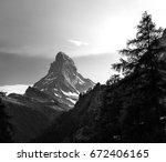 matterhorn in the black white... | Shutterstock . vector #672406165