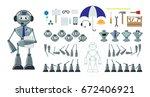 cartoon robot flat constructor. ... | Shutterstock .eps vector #672406921