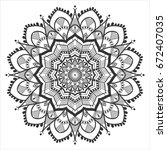simple floral ethnic mandala... | Shutterstock . vector #672407035