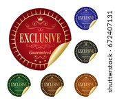 exclusive label. | Shutterstock .eps vector #672407131