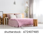 white and pink design of cozy... | Shutterstock . vector #672407485