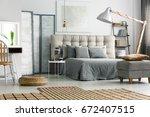 wicker carpet on the floor in... | Shutterstock . vector #672407515