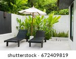 comfortable chair at the... | Shutterstock . vector #672409819