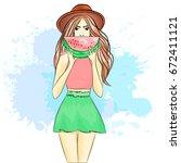 beautiful girl on the beach.... | Shutterstock .eps vector #672411121