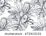 vector seamless pattern with... | Shutterstock .eps vector #672413131