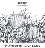 vector monochrome seamless sea... | Shutterstock .eps vector #672413281
