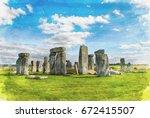 stonehenge with blue sky water...   Shutterstock . vector #672415507