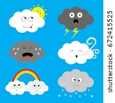 cloud emoji icon set. sun ... | Shutterstock .eps vector #672415525