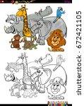 cartoon illustration of safari... | Shutterstock . vector #672421105