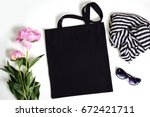 black blank cotton eco tote bag ... | Shutterstock . vector #672421711
