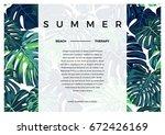 summer vector tropical postcard ... | Shutterstock .eps vector #672426169