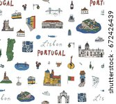 lisbon portugal city doodle... | Shutterstock .eps vector #672426439