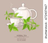 cup of nettle tea and teapot on ... | Shutterstock .eps vector #672437467
