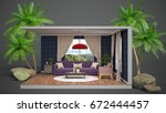 interior living room. 3d... | Shutterstock . vector #672444457
