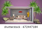interior living room. 3d... | Shutterstock . vector #672447184