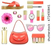 vector fashion accessories set 7 | Shutterstock .eps vector #672450841