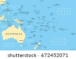 oceania political map. region ... | Shutterstock .eps vector #672452071