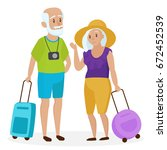 old senior people tourists with ... | Shutterstock .eps vector #672452539