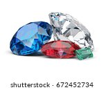 diamond  sapphire  ruby and... | Shutterstock . vector #672452734