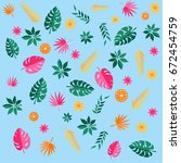 vector tropical leaves | Shutterstock .eps vector #672454759
