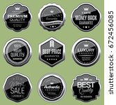 set of silver badges | Shutterstock .eps vector #672456085