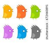funny little birds flat set ... | Shutterstock .eps vector #672460891