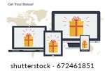 vector illustration. bonus in... | Shutterstock .eps vector #672461851